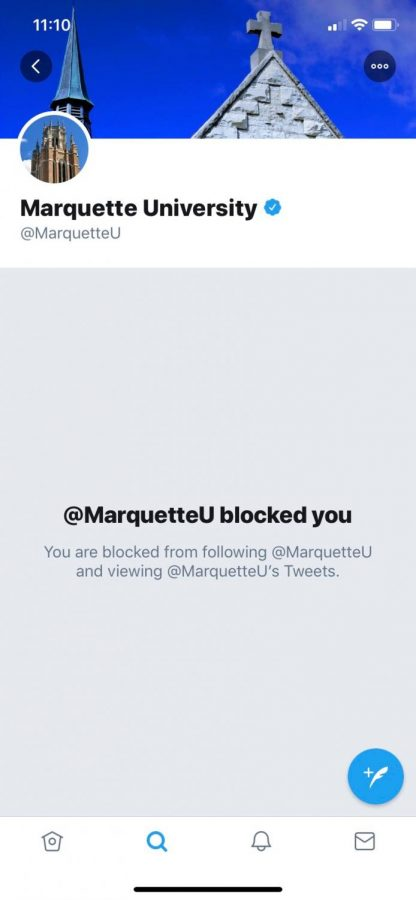 Danielle Clapham was blocked on Marquette University's twitter.
