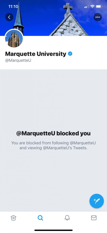 Danielle Clapham was blocked on Marquette University's twitter.