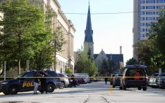 Police vehicles from MUPD, MPD and the Milwaukee County Sheriff's Office were on the scene of Tuesday's shooting.
