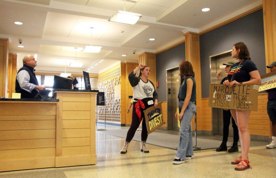 Mary Claire Burkhardt, a senior in the College of Education, tells fellow protestors that they will return Monday to deliver their letter to administrators.