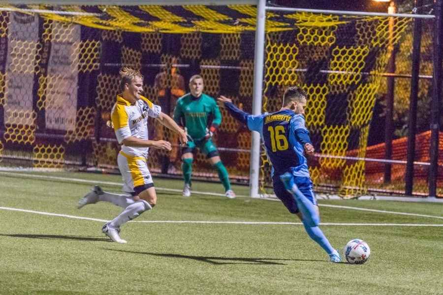 Josh+Coan%27s+goal+gave+the+Golden+Eagles+an+early+lead+against+UW-Milwaukee+in+the+first+half+Sept.+17+at+Engelmann+Stadium.