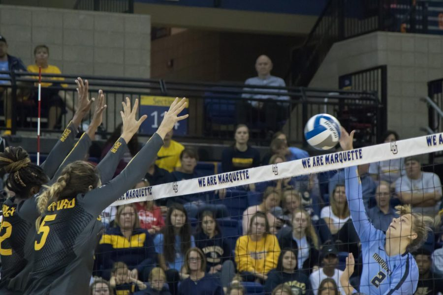 Hannah Vanden Berg attempts a kill against Baylor Sept. 8 at the Al McGuire Center.