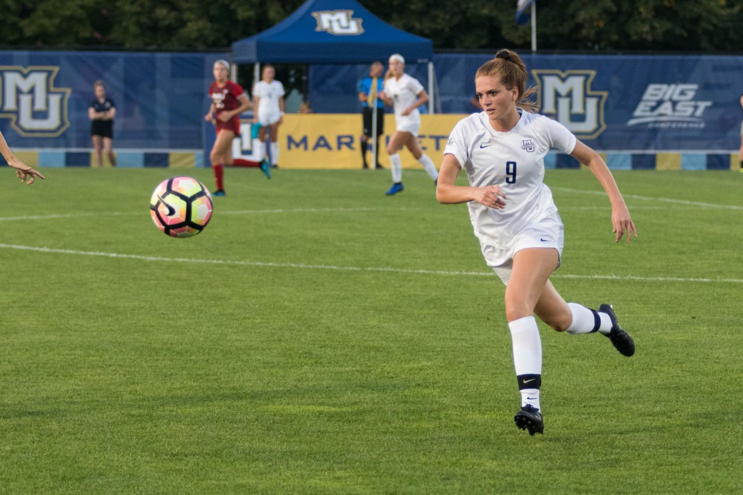 Macey Shock scored her first goal of the season Friday evening against Northern Illinois.