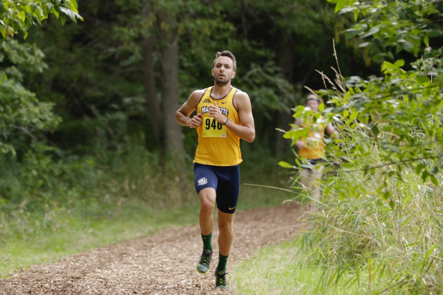 Photo courtesy of Marquette Athletics.  Brad Eagan competes in the Phoenix Open, his first cross country meet since 2017.