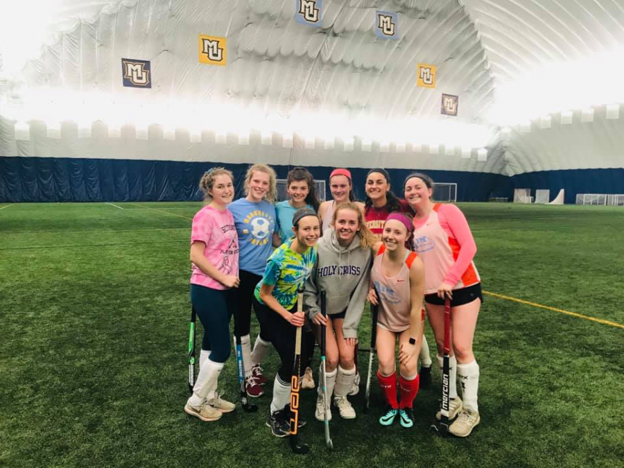 Marquette's Field Hockey club held practice last march at Valley Fields. (Photo courtesy of Marquette Club Field Hockey.)
