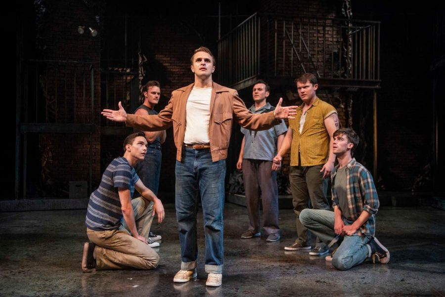 The musical's company includes, listed from left to right, Alex Hatcher, Clay Roberts, Jacob Burns, Devin Richey, Alex Hayden Miller and Marquette College of Communication alumnus Nick Parrott.