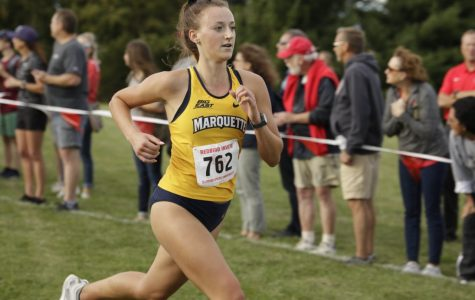 Freshman Kate Jochims runs in the Redbird Invite Sept. 13. Photo courtesy of Marquette Athletics.