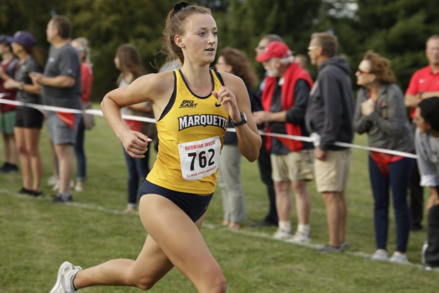 Freshman Kate Jochims runs in the Redbird Invite Sept. 13. Photo courtesy of Marquette Athletics.