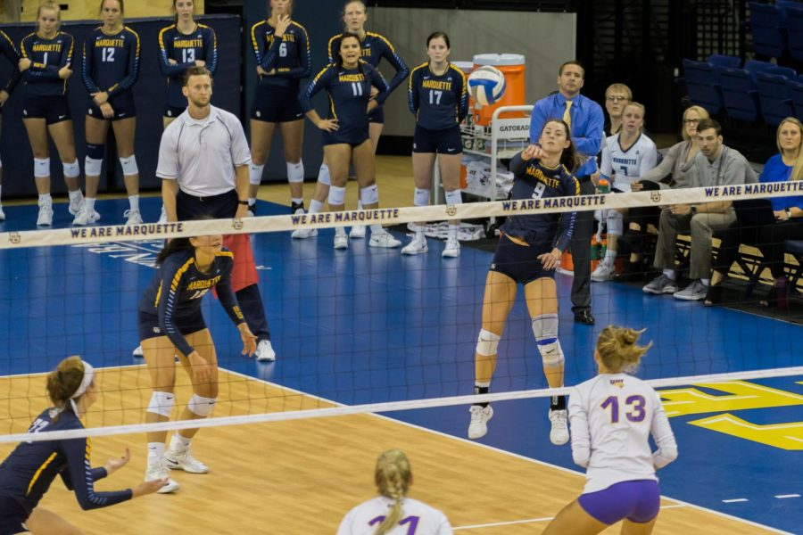 Kaitlyn+%22K.J.%22+Lines+attempts+a+kill+in+Marquette%27s+four-set+win+over+Northern+Iowa.