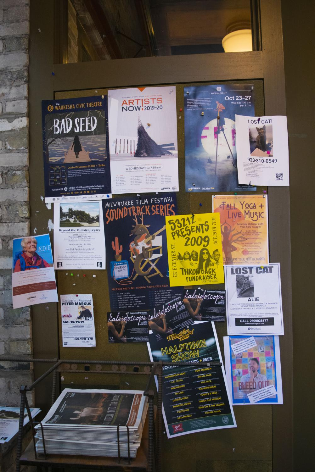 Some locations have bulletin boards and racks of flyers that provide promotional opportunities for local events.