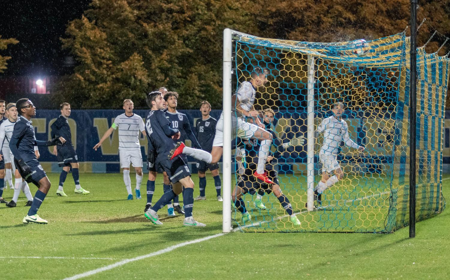 Josh Hancock scores his first collegiate goal Wednesday against Butler at Valley Fields.