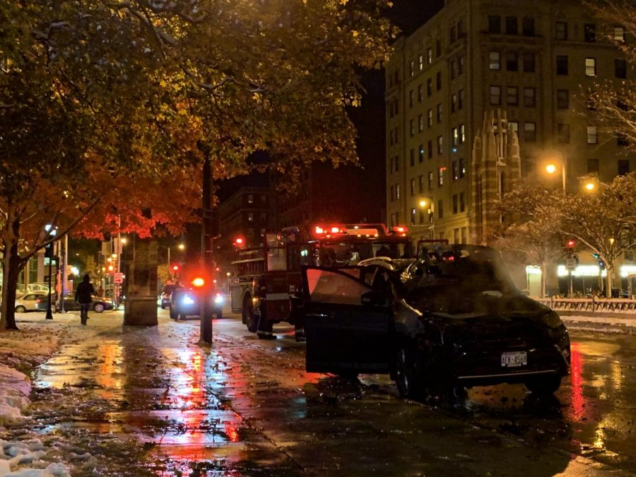 A car fire occurred outside Haggerty Hall on Wisconsin Avenue.