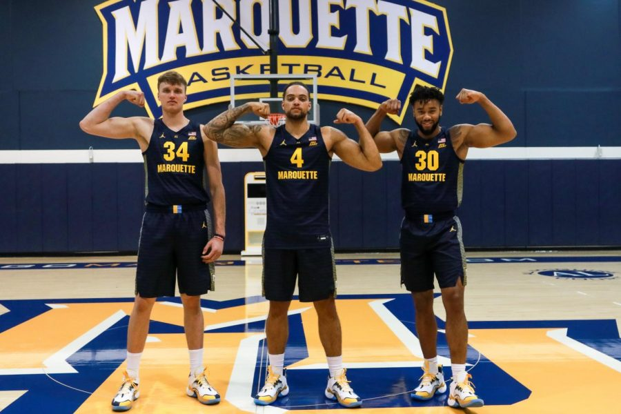 Graduate+transfer+Jayce+Johnson+%2834%29%2C+junior+Theo+John+%284%29+and+redshirt+senior+Ed+Morrow+%2830%29+are+all+post+players.