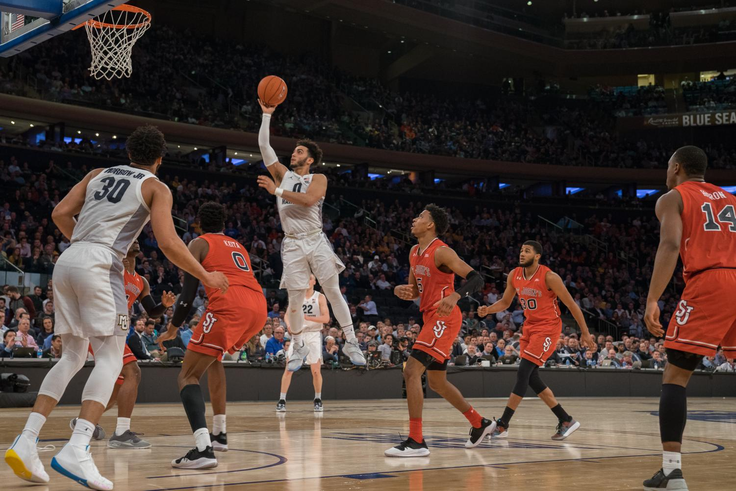 Markus Howard attempts a layup against St. John's in the BIG EAST Tournament quarterfinals.