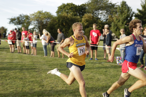 "Greg Van Hollen is freshman from Barrington Illinois. He finished 51st at the Illinois State Invite Sept. 13. This past weekend he finished fourth at the Bradley ""Pink"" Classic in the white race. (Photo courtesy of Marquette Athletics.)"