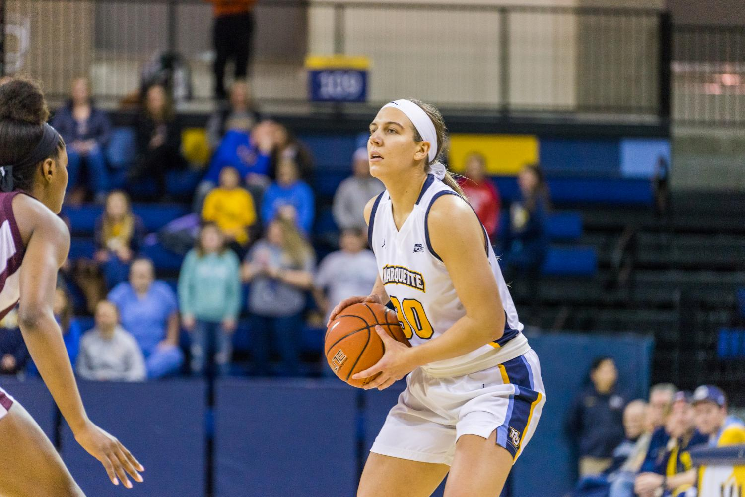 Isabelle Spingola holds onto the ball in MU's Nov. 25 loss to Mississippi State at the Al McGuire Center.