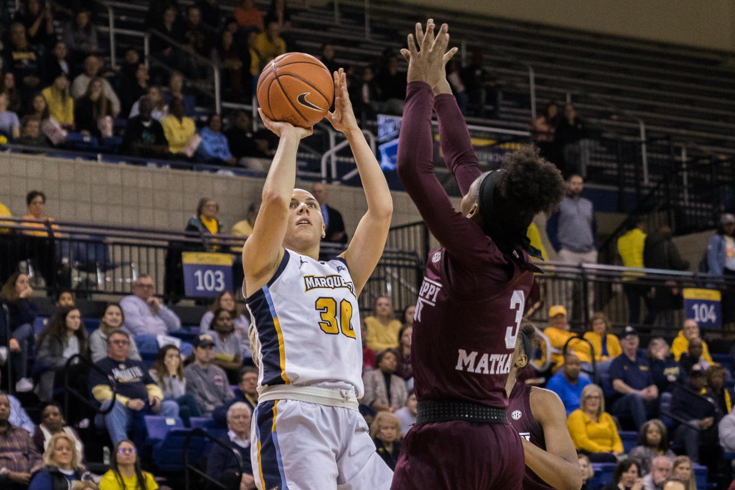 Senior guard Isabelle Spingola led the Golden Eagles with 18 points in their loss to No. 10 Mississippi State Nov. 25 at the Al McGuire Center.