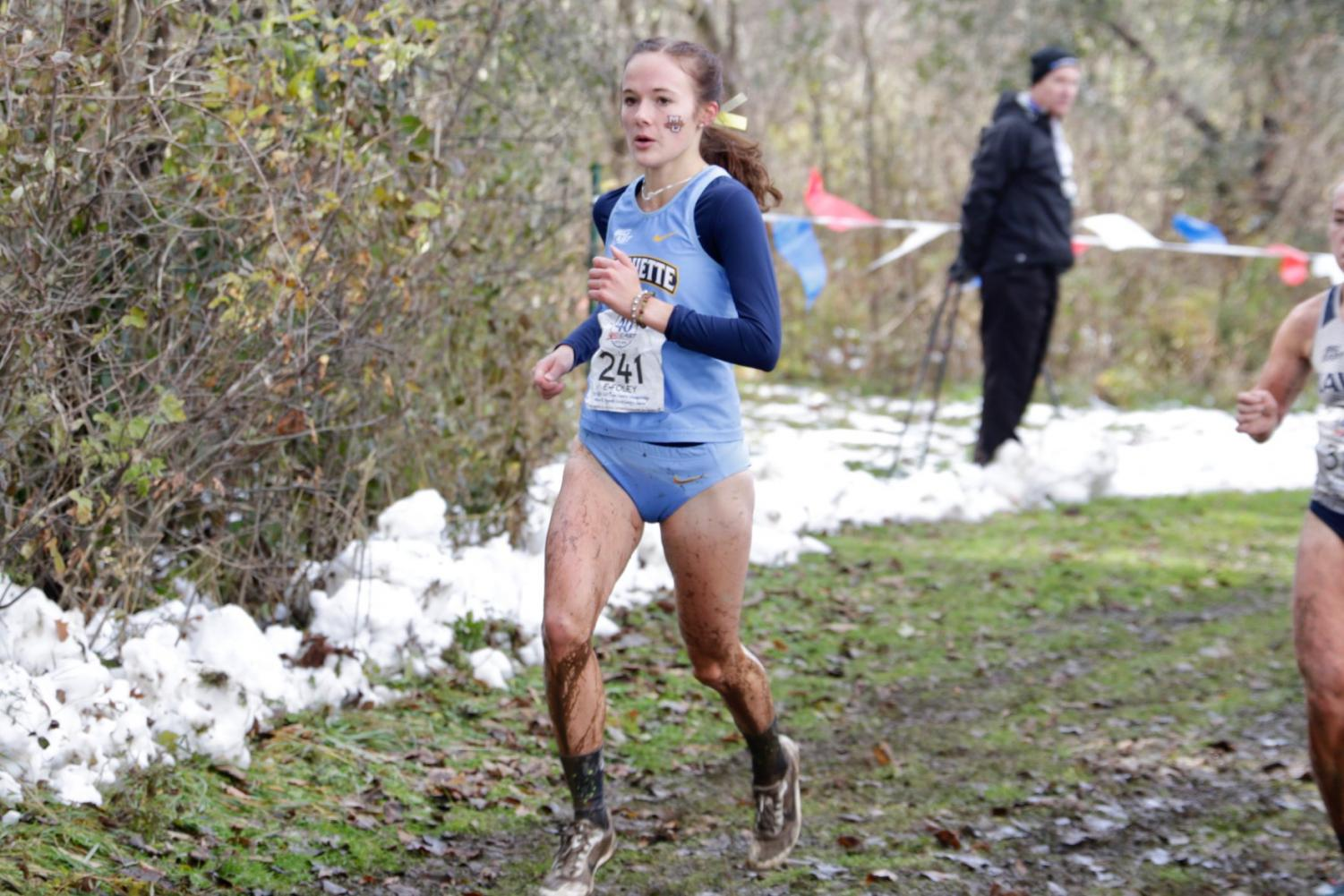 Emily Foley runs in the 2019 BIG EAST Championships on the University of Wisconsin-Parkside's campus. (Photo courtesy of Marquette Athletics)