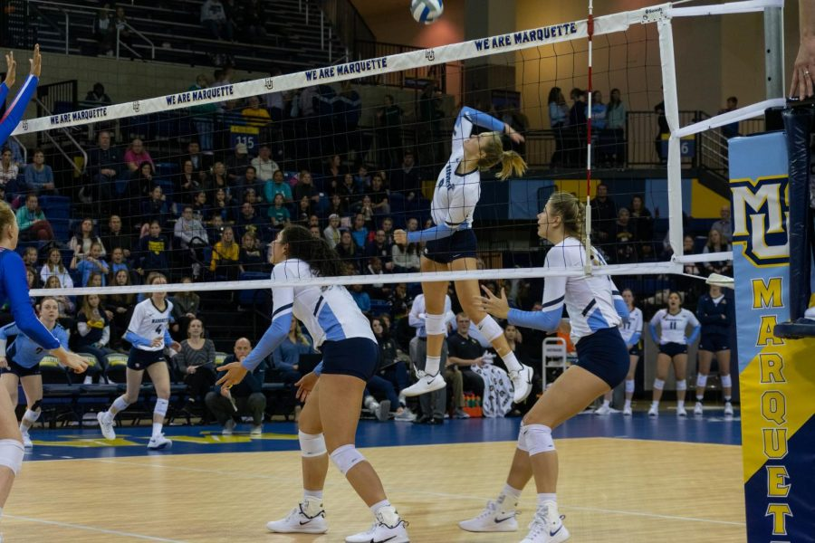 Junior+outside+hitter+Hope+Werch+takes+a+swing+against+DePaul+in+Marquette%27s+three-set+win+at+the+Al+McGuire+Center+Nov.+8.