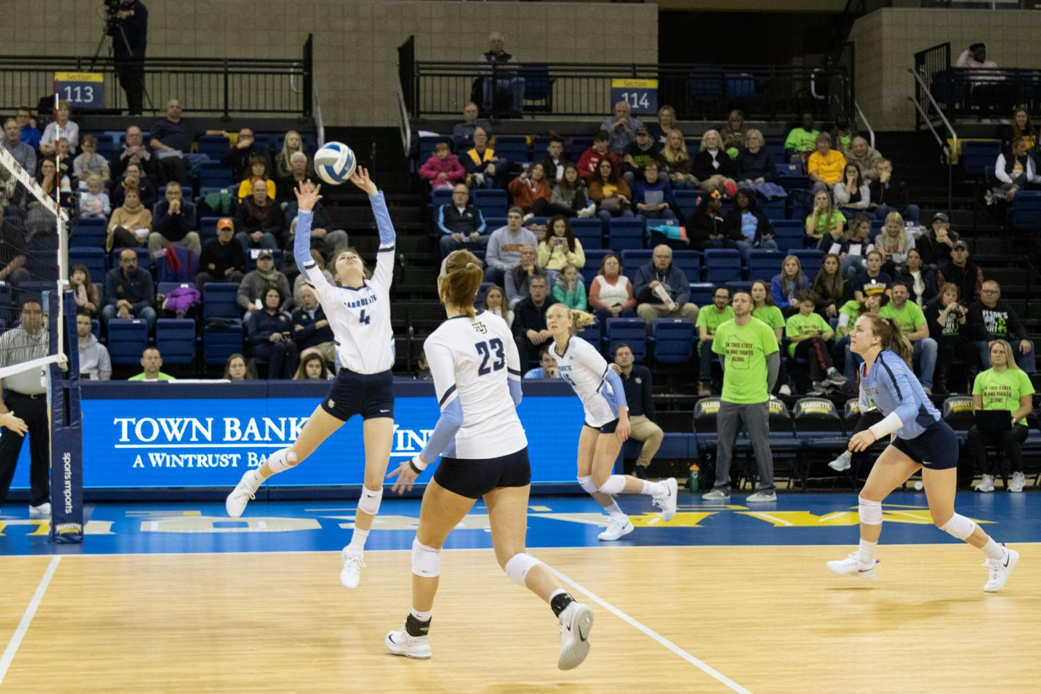 Junior setter Sarah Rose sets the ball in Marquette's win against Xavier Nov. 1 at the Al McGuire Center.