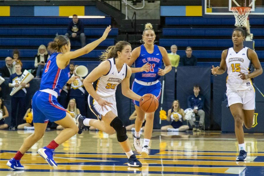 Sophomore forward Chloe Marotta (52) recorded her first career double-double in MU's win over St. Francis Brooklyn Thursday night.