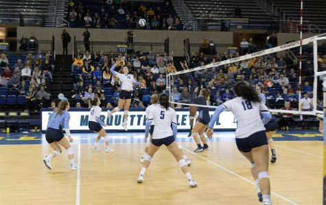 Allie Barber (10) attempts a kill in Marquette's 3-1 win over Villanova on Senior Night Nov. 16.