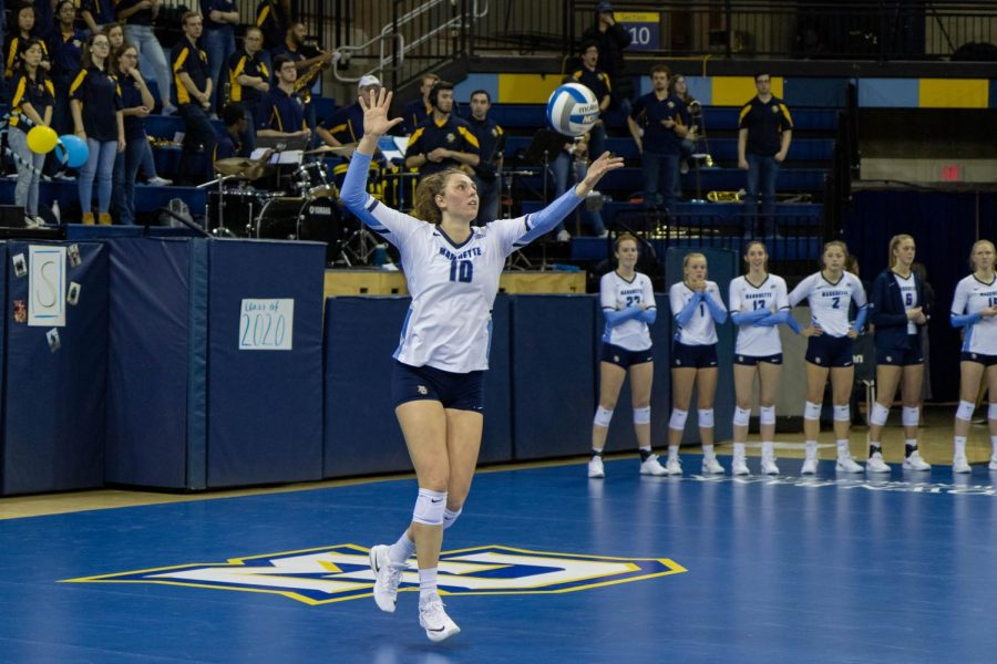 Allie+Barber+%2810%29+attempts+a+serve+in+Marquette%27s+3-1+win+over+Villanova+at+the+Al+McGuire+Center.
