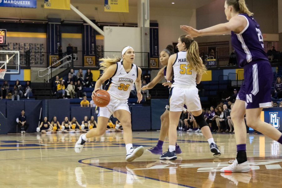 Senior guard Isabelle Spingola finished with 18 points in Marquette's overtime loss to Northwestern Nov. 14 at the Al McGuire Center.