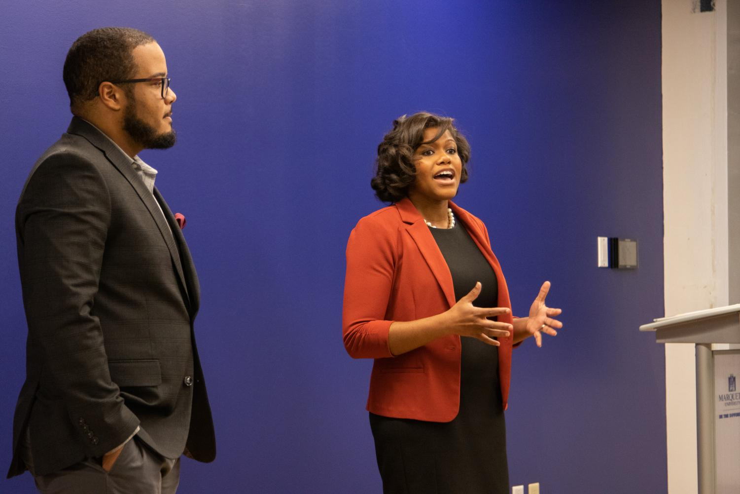 The event had a main focus on women, and Erica Wright (right) said it is beneficial.