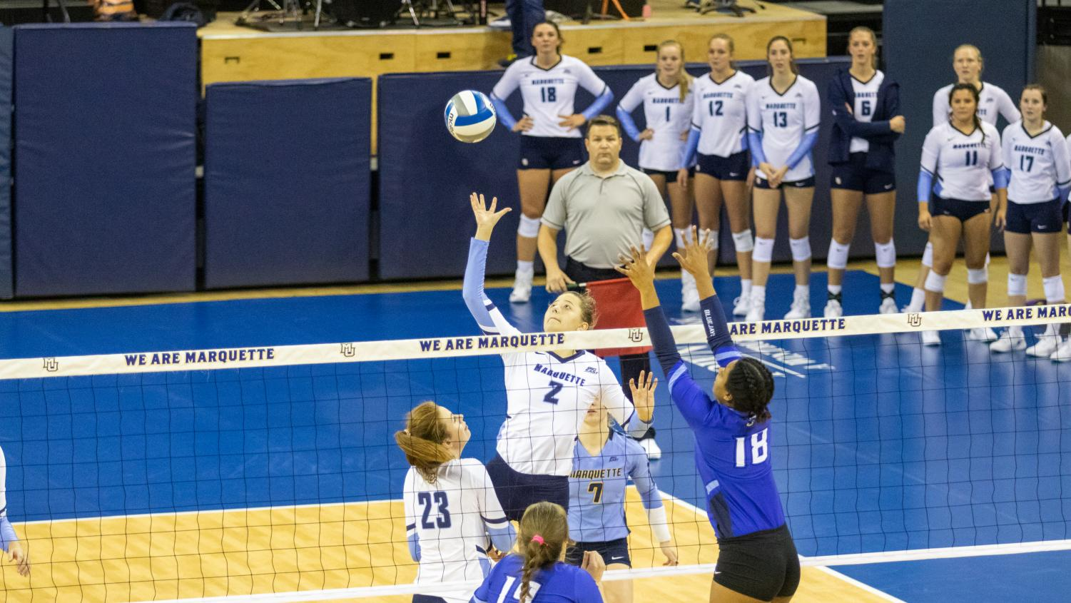First-year outside hitter Hannah Vanden Berg goes up against the Bluejays in MU's loss Oct. 12 at the Al McGuire Center.