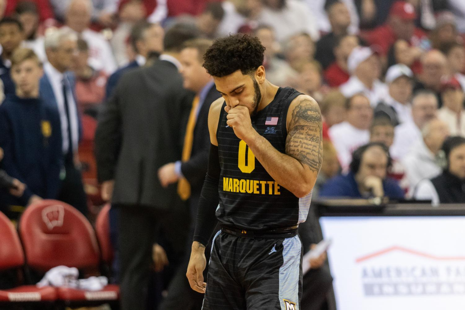 Markus Howard (0) scored 18 points in Marquette's 77-61 loss to Wisconsin Sunday.