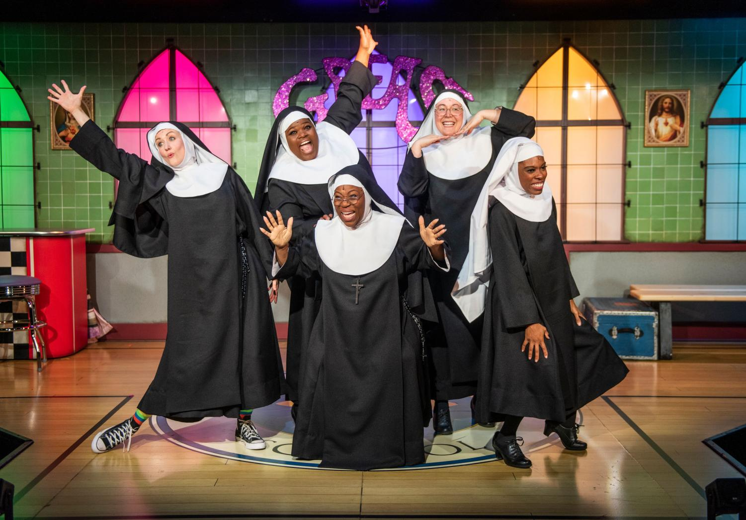 The cast of irreverent, comedic nuns includes, listed from left to right, actors Kelley Faulkner, Lachrisa Grandberry, Melody Betts, Veronica Garza and Candace Thomas.