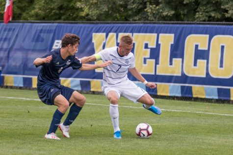 Patrick Seagrist looks to get past a UC-Davis defender.