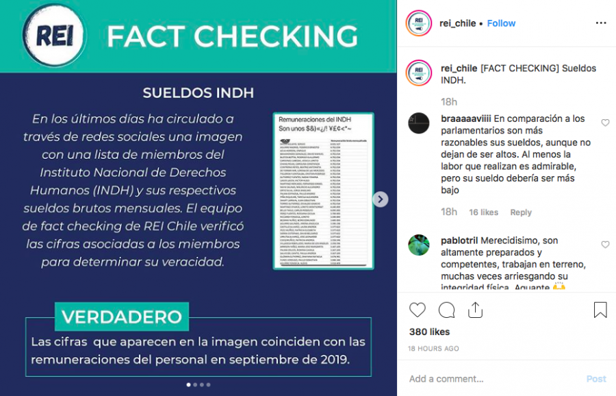 REI shares fact-checking information on its Instagram page. Photo via Instagram.
