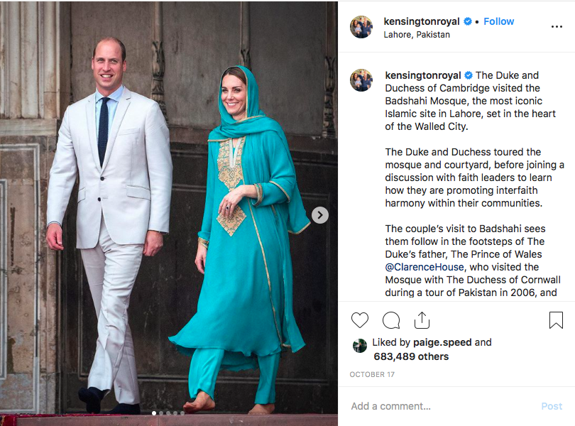 The+Duke+and+Duchess+of+Cambridge+in+Pakistan.+Photo+via+Instagram.+
