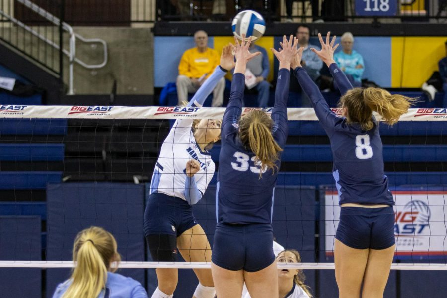 Junior outside hitter Hope Werch had eight kills in Marquette's three-set sweep over Villanova Nov. 29 at the Al McGuire Center.