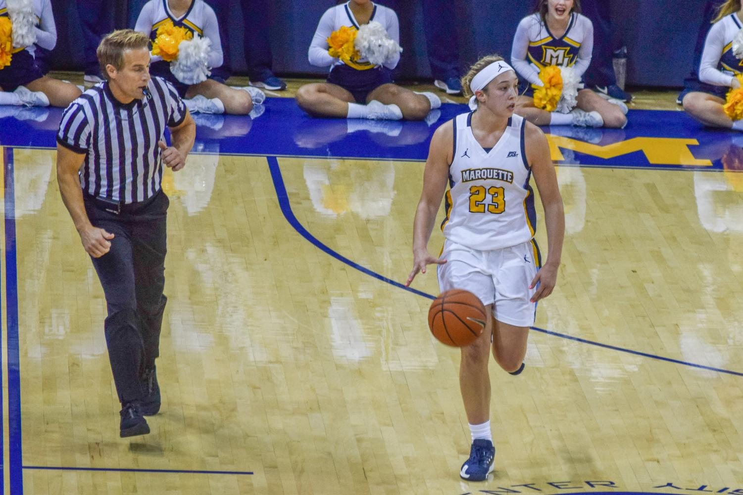 Jordan King brings the ball up in Marquette's 93-47 exhibition win against Winona State.