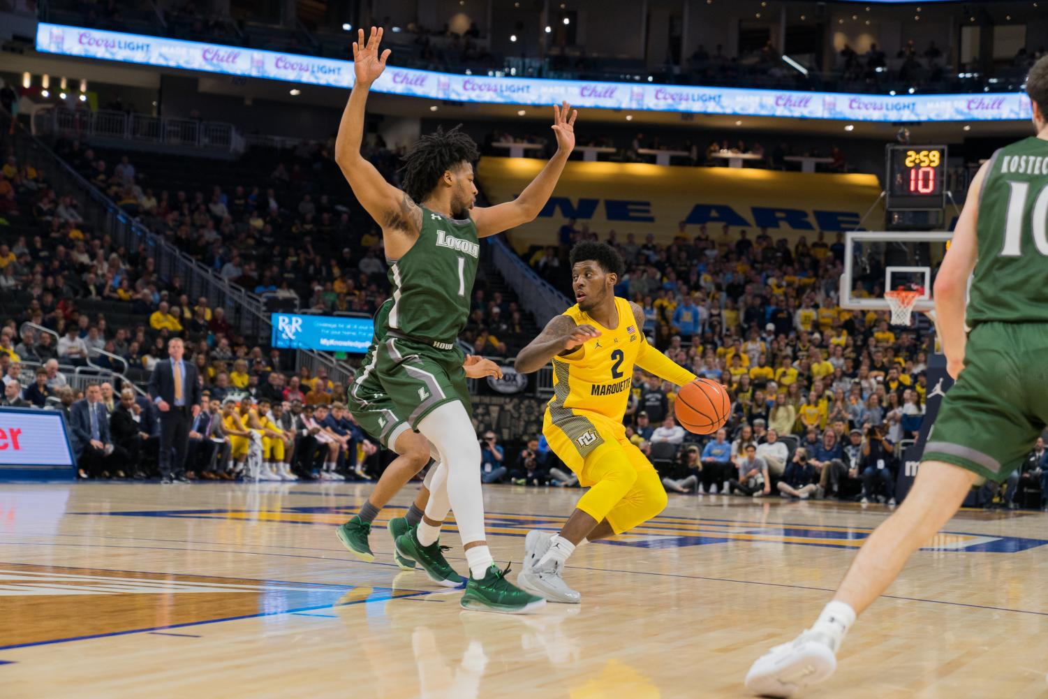 Sacar Anim works against the Loyola Maryland defense in Marquette's win at Fiserv Forum Nov. 5.