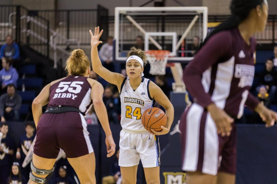 Junior guard Selena Lott directs the offense in its loss to Mississippi State Nov. 25 at the Al McGuire Center.