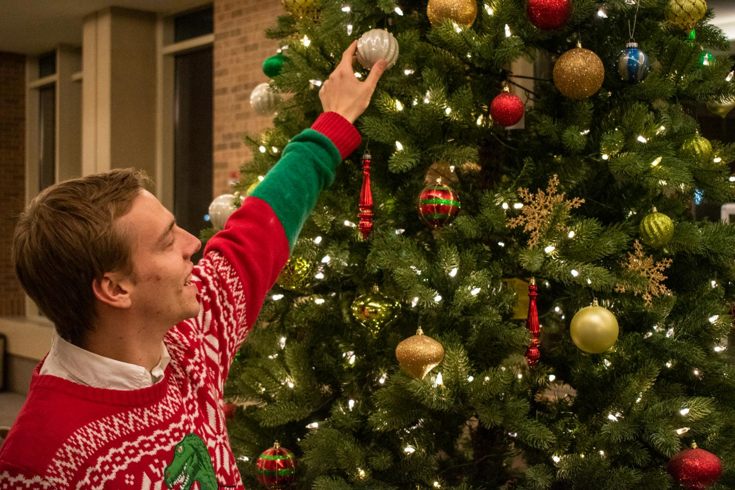 Andrew Fairbank, a junior in the College of Engineering, puts an ornament on a Christmas tree.