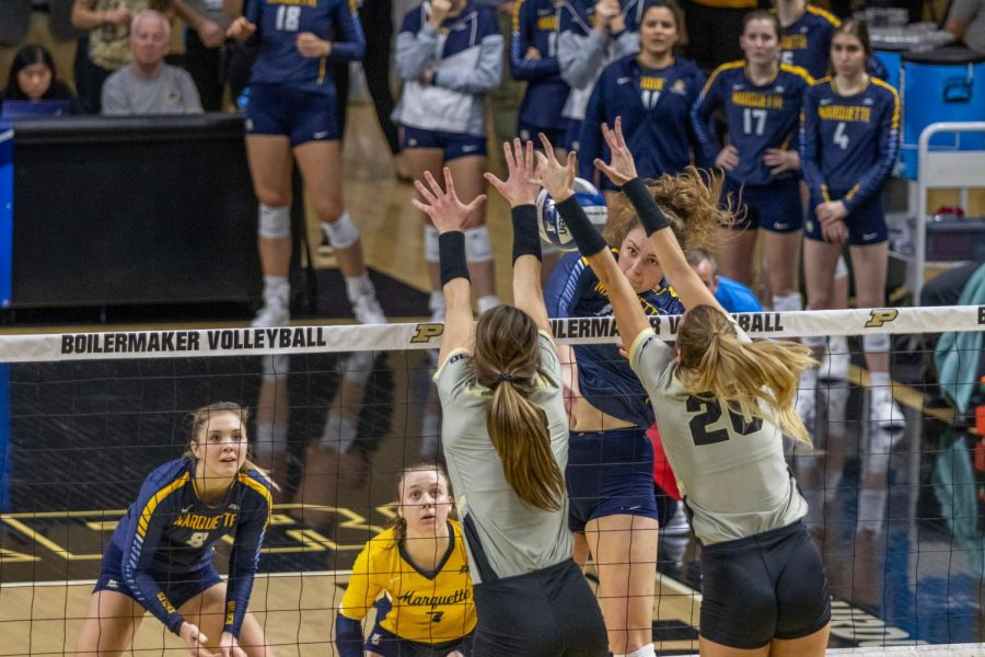 Allie Barber recorded 15 kills in Marquette's four-set loss Saturday at Purdue. It was her final match in a Marquette uniform.
