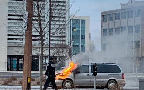 A car caught on fire Sunday on Wells Street.