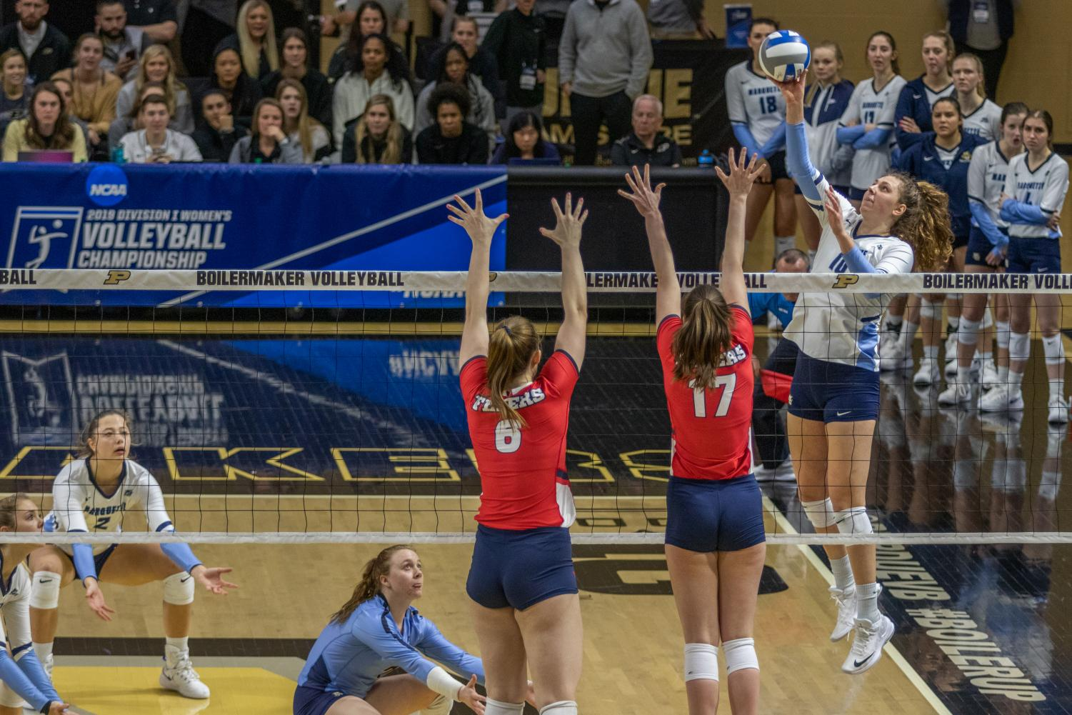 Senior outside hitter Allie Barber had a match-high 17 kills in Marquette's win over Dayton in the first round of the NCAA Tournament on Purdue's campus.