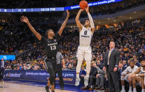 Markus Howard (0) shoots a shot in front of Marquette's bench in the Golden Eagles' 70-52 win over Xavier at Fiserv Forum last season. Howard scored a 26 points. (Photo courtesy of Marquette Athletics.)