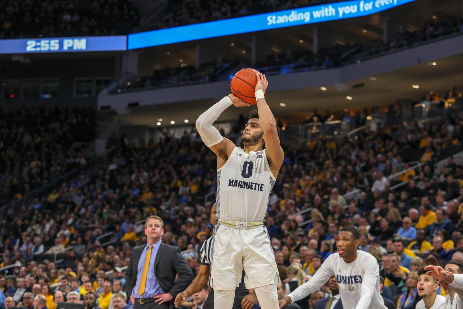 Markus Howard (0) dropped a game-high 42 points at Georgetown Saturday. (Photo courtesy of Marquette Athletics.)