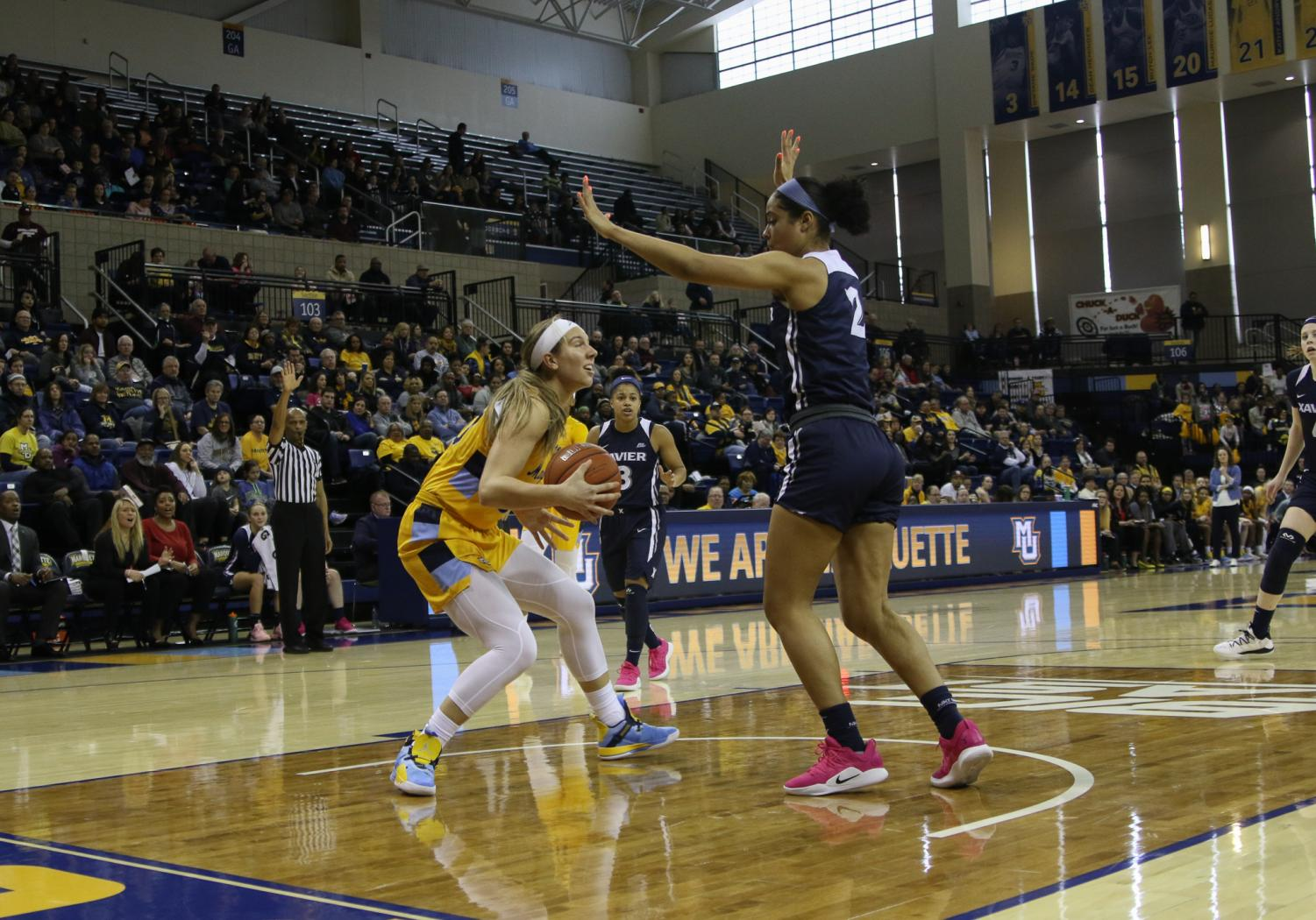 Senior Isabelle Spingola (30) lead the Golden Eagles with a season-high 20 points in Marquette's 20-point win over Xavier Sunday afternoon. (Marquette Wire stock photo.)