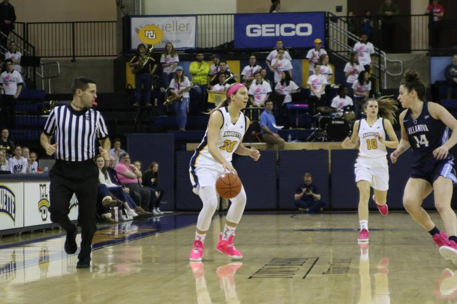 Isabelle Spingola (30) looking to make a pass in the Marquette's 93-55 win over Villanova on Feb. 10, 2019. (Marquette Wire stock photo.)