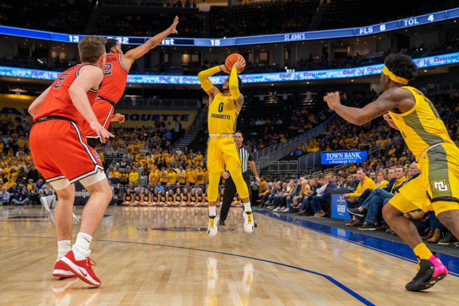 Markus Howard (0) scored a game-high 32 points in Marquette's win over St. John's.