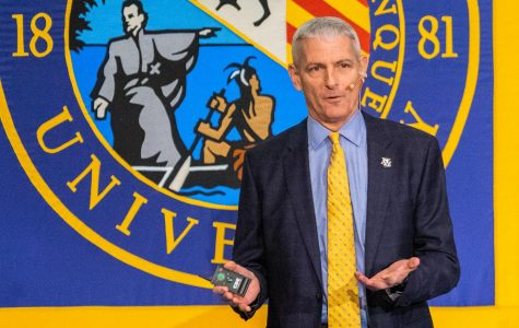 Lovell speaks at his sixth annual presidential address in the AMU.