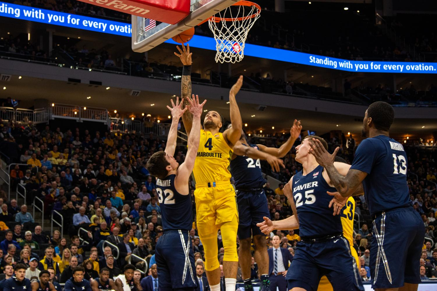 Theo John (4) scored 10 points and seven rebounds in the Golden Eagles 85-65 win over the Musketeers Wednesday.